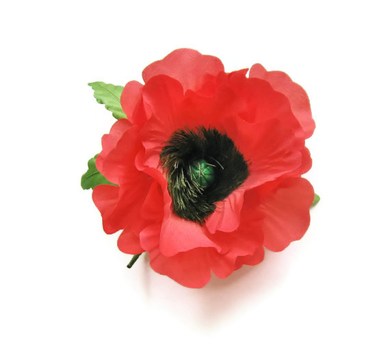 Handmade and hand painted red silk poppy brooch