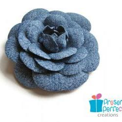 Distressed denim flower hair clip, denim camellia flower brooch